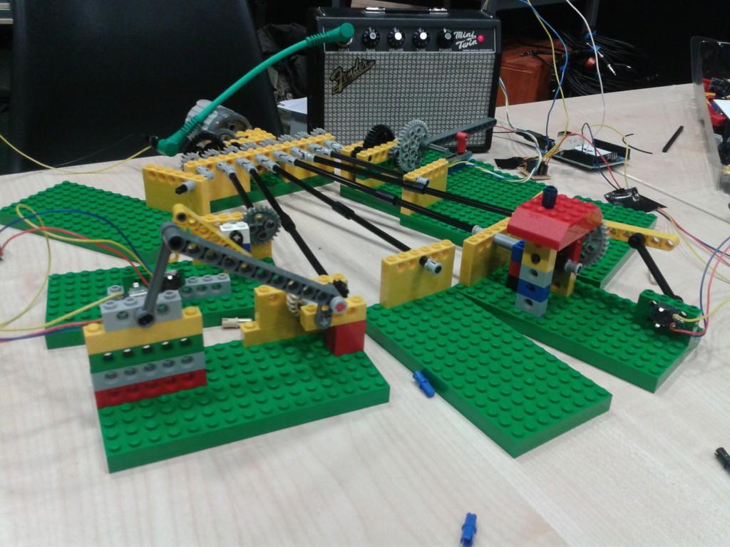 Lego synth knob twiddling machine at BEAM Day 2012